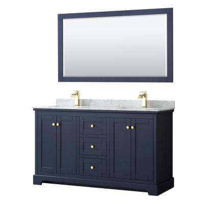Avery 60 in. W x 22 in. D Bath Vanity in Dark Blue with Marble Vanity Top in White Carrara with White Basins and Mirror