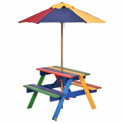 Rectangle Wood 4 Seat Kids Outdoor Picnic Table