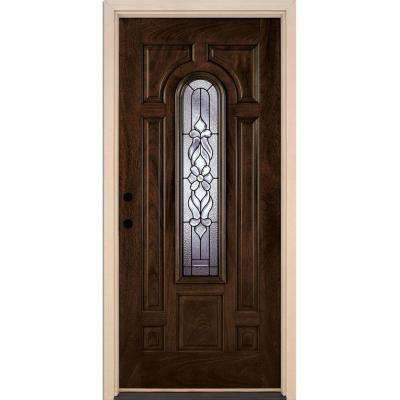 37.5 in.x81.625 in. Lakewood Patina Center Arch Lite Stained Chestnut Mahogany Right-Hand Fiberglass Prehung Front Door