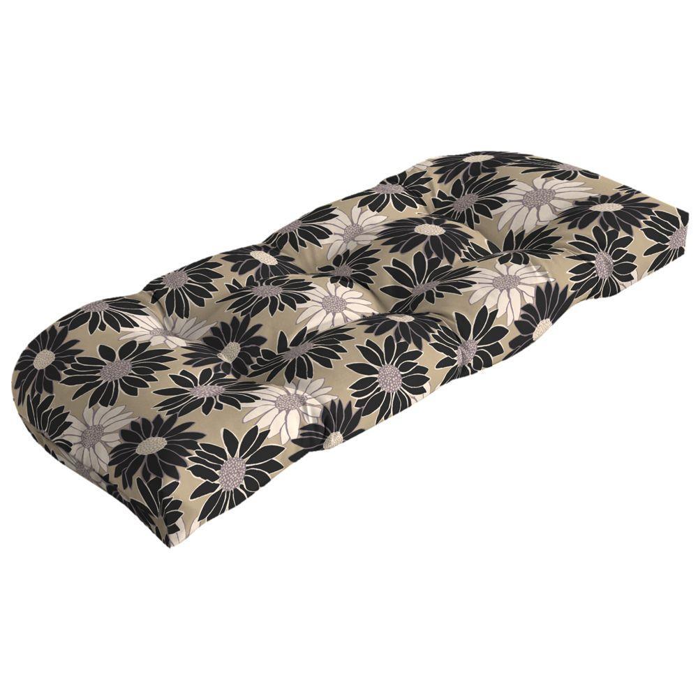 Arden Cornflower Noir Wicker Tufted Outdoor Loveseat Cushion-DISCONTINUED