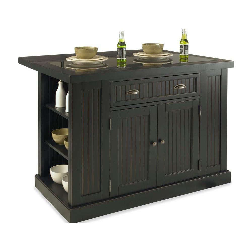 Nantucket Black Kitchen Island with Granite Top