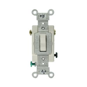 Leviton 15 Amp Residential Grade 3-Way Lighted Toggle Switch, White on