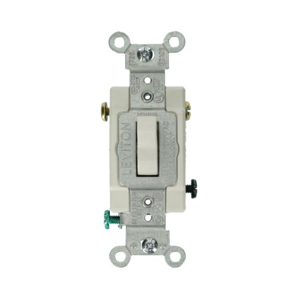 15 Amp Commercial Grade 3-Way Lighted Handle Toggle Switch, White