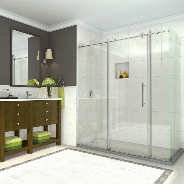 Coraline 68 - 72 in. x 33.875 in. x 76 in. Completely Frameless Sliding Shower Enclosure in Polished Chrome