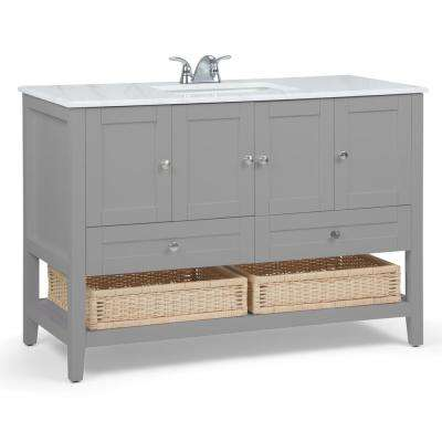 Cape Cod 48 in. Bath Vanity in Warm Grey with Engineered Marble Extra Thick Vanity Top in White with White Basin