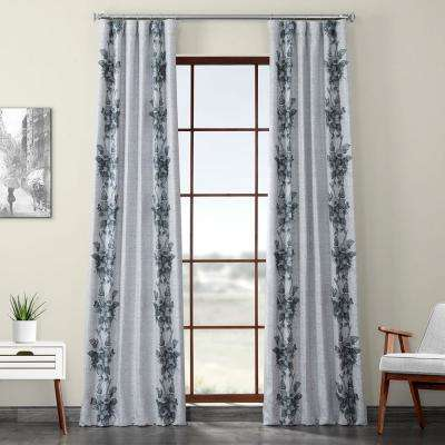 Copenhagen Gray Printed Linen Textured Blackout Curtain - 50 in. W x 84 in. L (1-Panel)