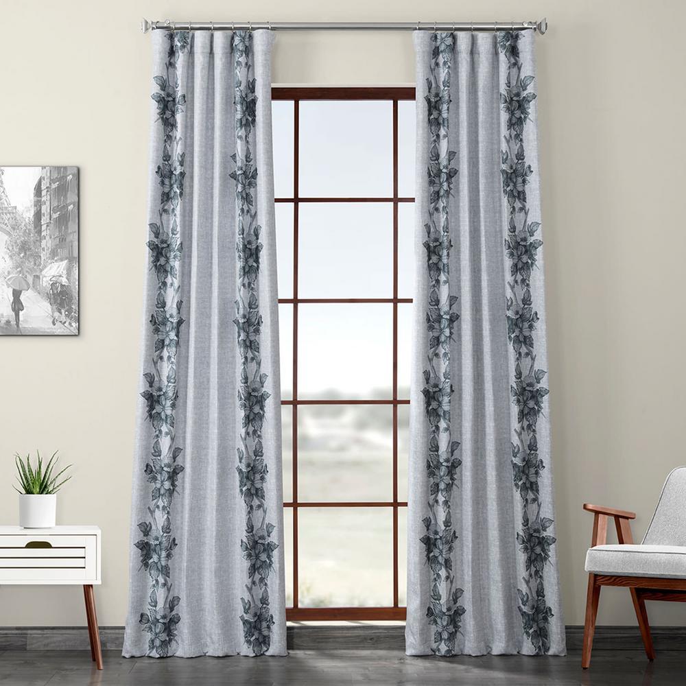 Copenhagen Gray Printed Linen Textured Blackout Curtain - 50 in. W x 96 in. L (1-Panel)