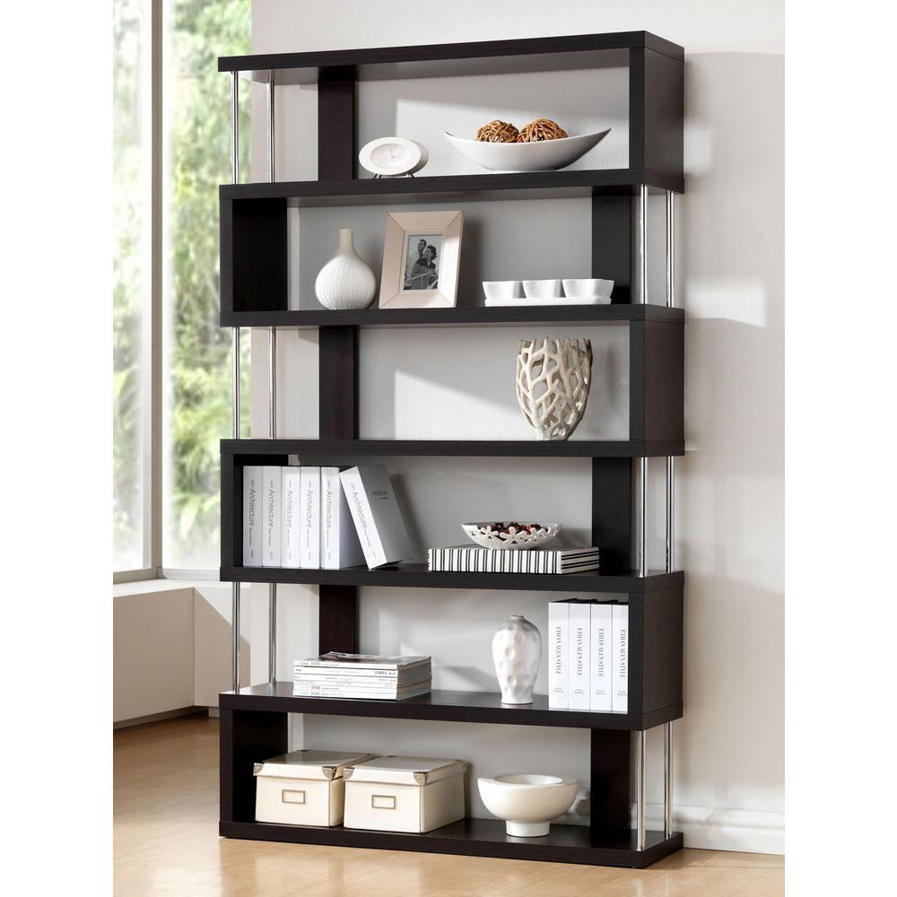Barnes Dark Brown Wood 6-Tier Open Shelf