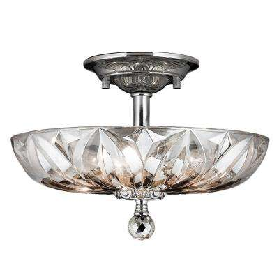 Mansfield Collection 4-Light Chrome and Clear Crystal Ceiling Semi-Flush Mount Light