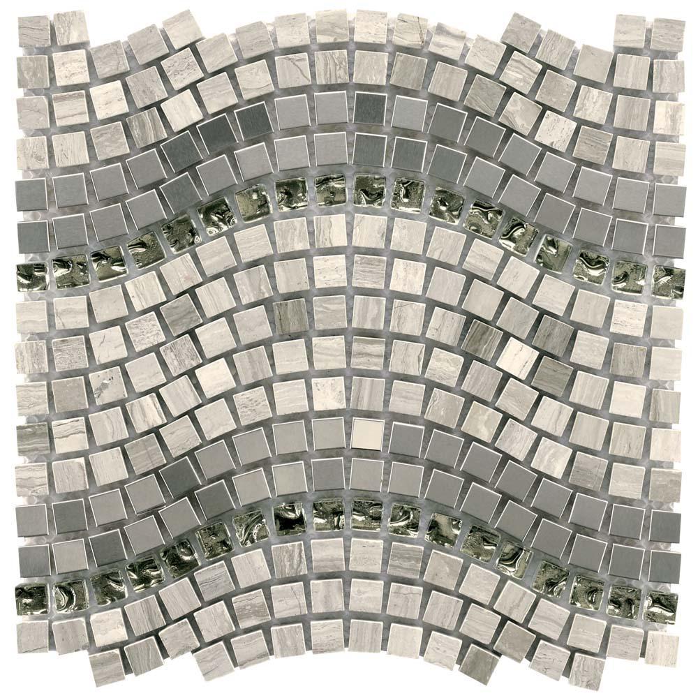 Merola Tile Tessera Wave Mercury 11-3/4 in. x 12-1/4 in. x 8 mm Glass, Stone and Metal Mosaic Tile
