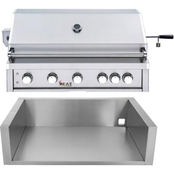 40 in. 5-Burner Propane Gas Grill in Stainless Steel with Jacket