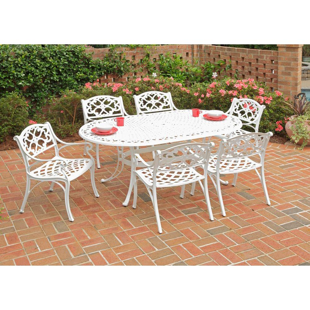 Home Styles Biscayne White 7-Piece Patio Dining Set with Green Apple Cushions