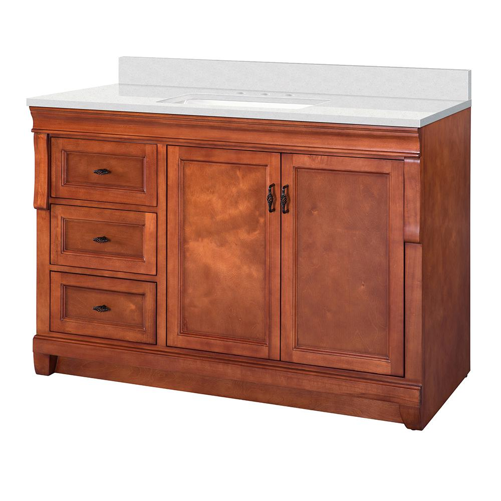 Foremost Naples 49 in. W x 22 in. D Vanity Cabinet in Warm Cinnamon with  Marble Vanity Top in Snowstorm with White Basin