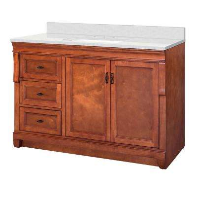 Naples 49 in. W x 22 in. D Vanity Cabinet in Warm Cinnamon with  Marble Vanity Top in Snowstorm with White Basin