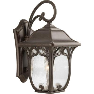 Enchant Collection 19.25 in. Outdoor Espresso Wall Lantern Sconce