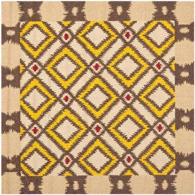Four Seasons Beige/Yellow 6 ft. x 6 ft. Square Area Rug