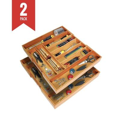 1.8 in. H x 12 in. W x 17.5 in. D Bamboo Utensil Drawer Organizer Tray (Pack of 2)