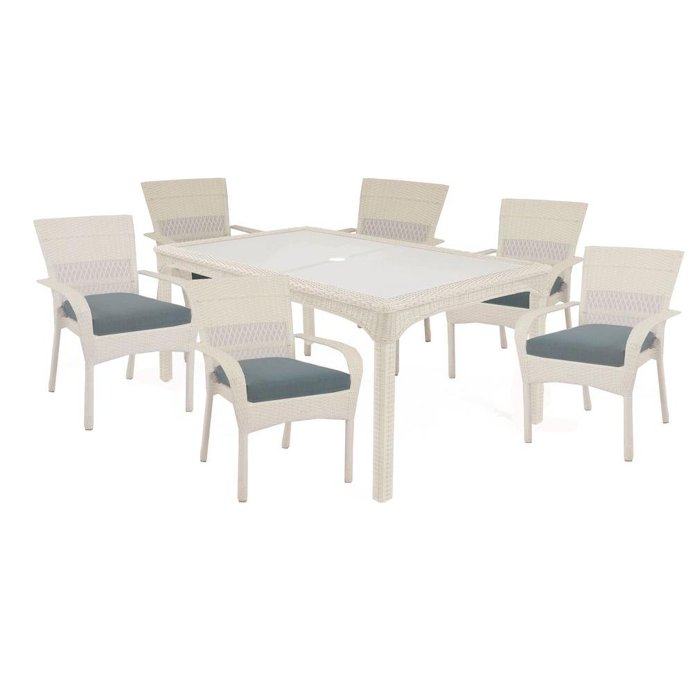 Martha Stewart Living Charlottetown White 7 Piece All Weather Wicker Patio  Dining Set With