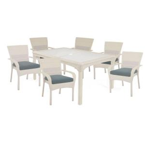 Charlottetown White 7-Piece All-Weather Wicker Patio Dining Set with Washed Blue Cushion