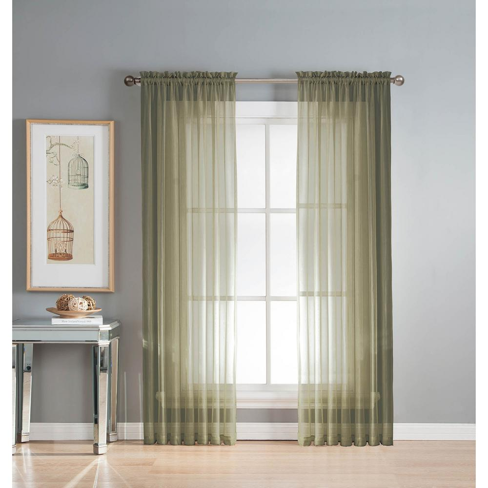 Window Elements Sheer Diamond Olive Rod Pocket Extra Wide Curtain Panel 56 In