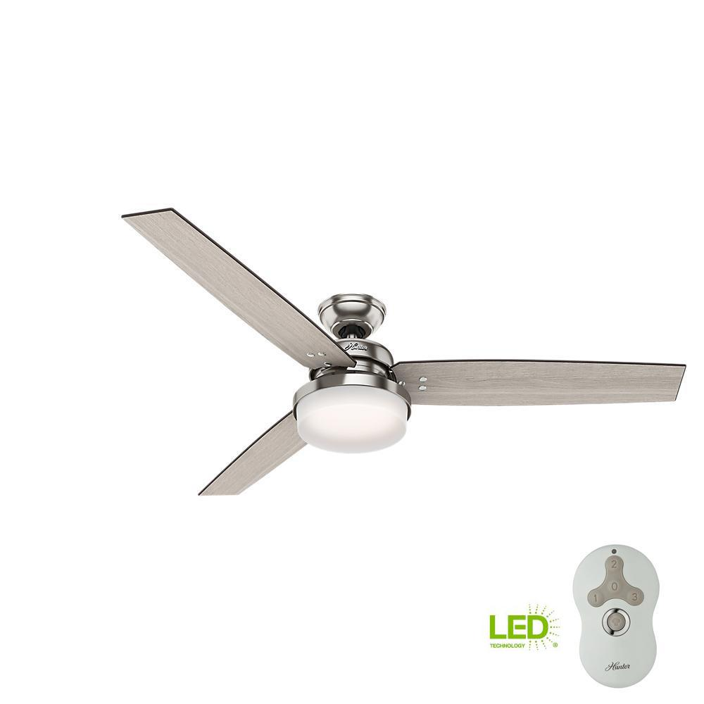 b74b49dade9 Hunter Sentinel 60 in. LED Indoor Brushed Nickel Ceiling Fan with  Integrated Light Kit and