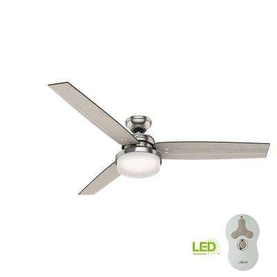Sentinel 60 in. LED Indoor Brushed Nickel Ceiling Fan with Integrated Light Kit and Handheld Remote Control