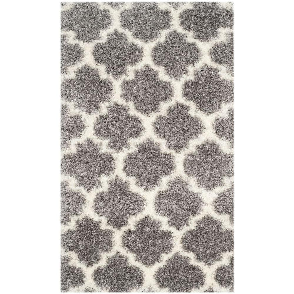 Montreal Shag Grey/Ivory 3 ft. x 5 ft. Area Rug