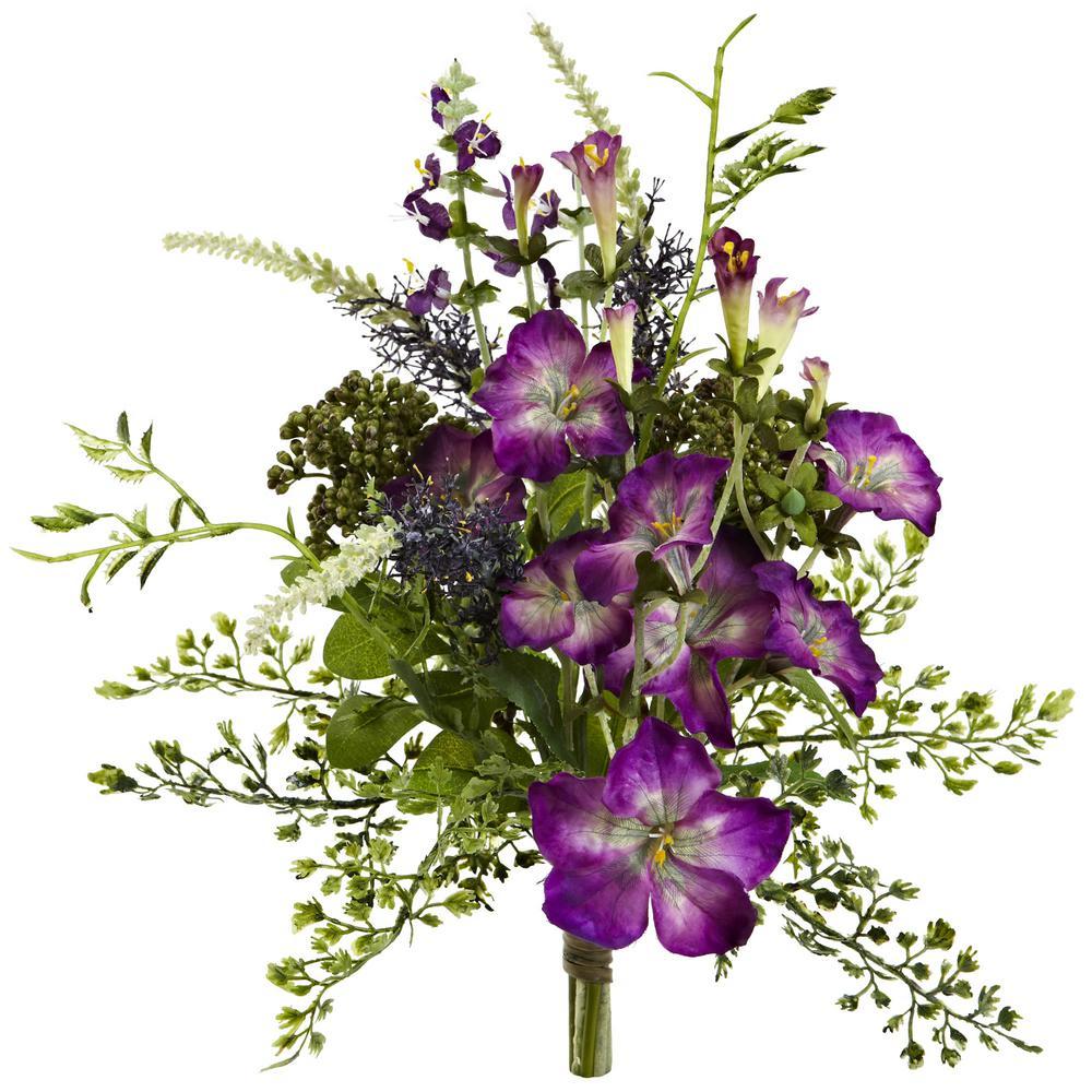 Indoor 9 in. Morning Glory Artificial Flower Bundle (Set of 3)