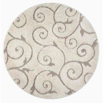 Maisha Cream 7 ft. 10 in. x 7 ft. 10 in. Round Rug