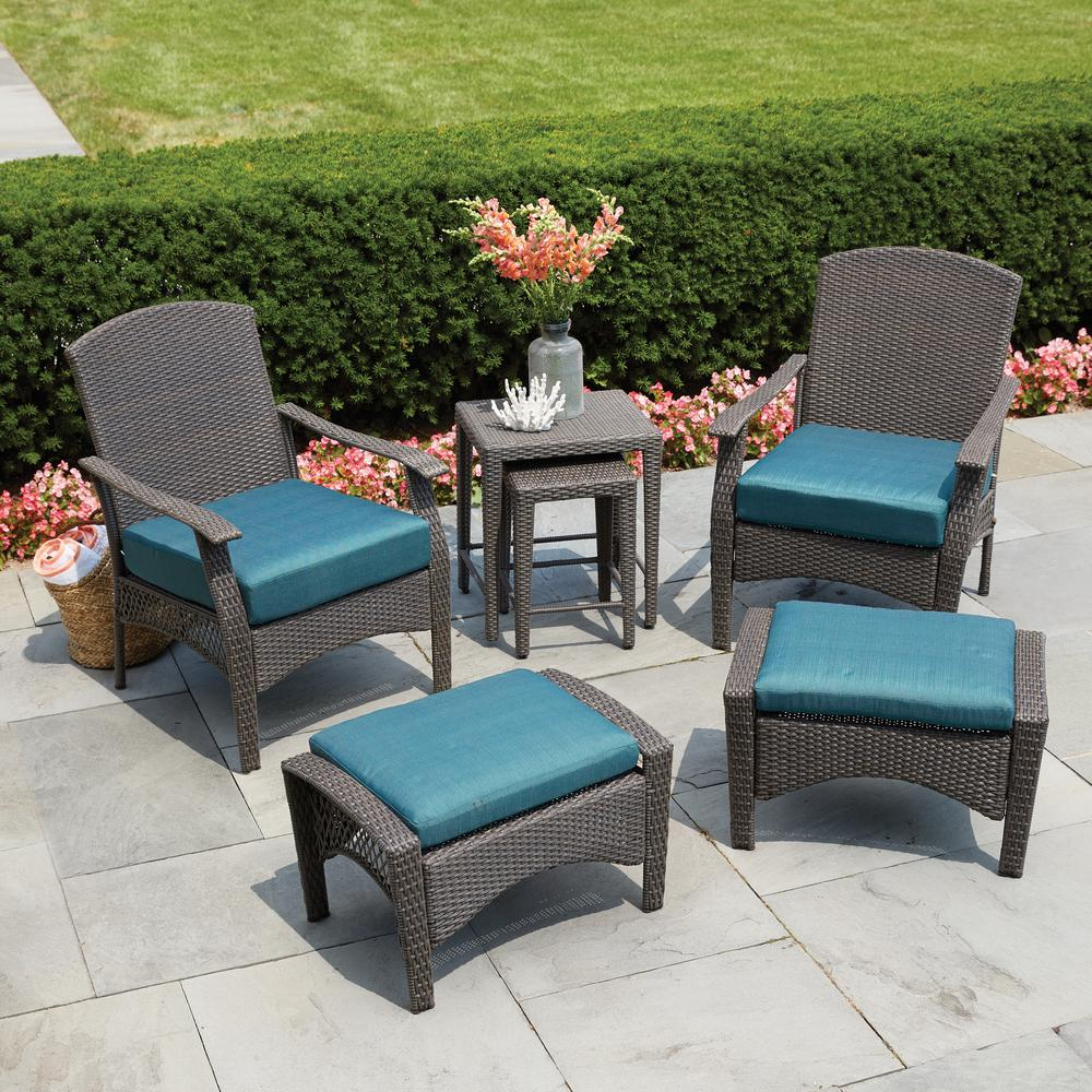 Hampton Bay Placerville Brown 6 Piece Wicker Patio Conversation Set With Turquoise Cushion 65 43126 The Home Depot