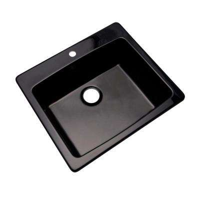 Northbrook Dual Mount Composite Granite 25 in. 1-Hole Single Bowl Kitchen Sink in Black