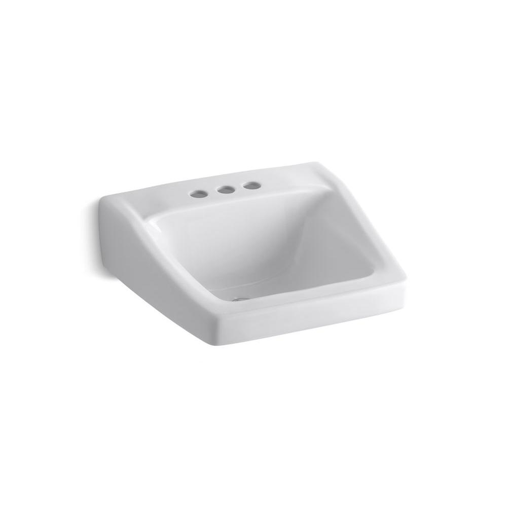 Chesapeake Wall-Mount Vitreous China Bathroom Sink in White with Overflow Drain