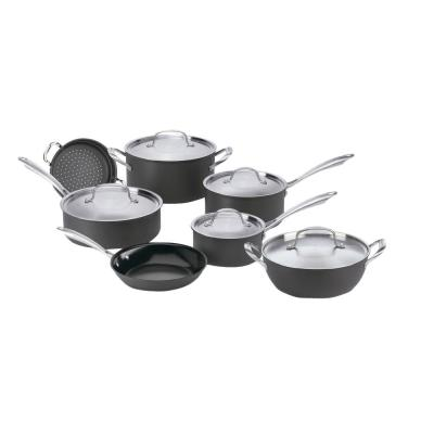 GreenGourmet 12-Piece Hard-Anodized Aluminum Ceramic Nonstick Cookware Set in Black