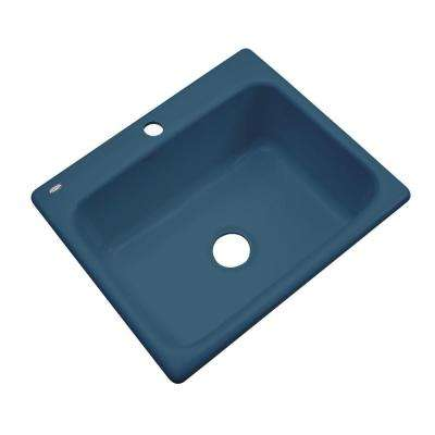 Inverness Drop-In Acrylic 25 in. 1-Hole Single Bowl Kitchen Sink in Navy Blue