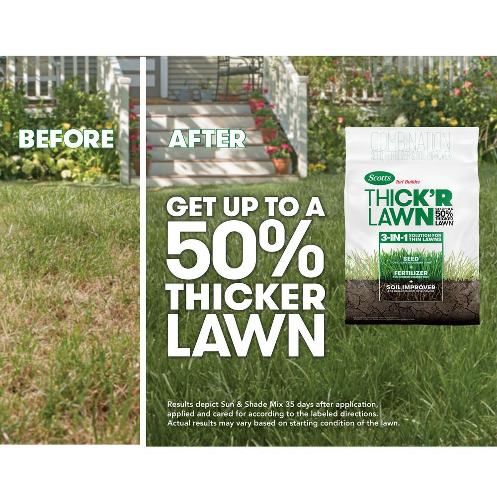 Scotts Turf Builder Thick R Lawn Sun And Shade 40 Lb 30158 1 The Home Depot