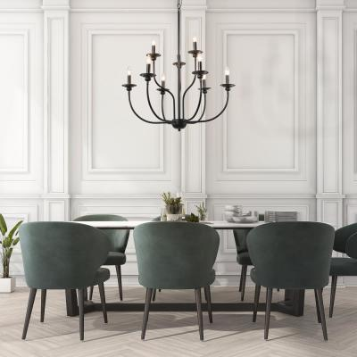 Modern Farmhouse Dining Room Chandelier 9-Light Black Large Island Candlestick Chandelier Pendant with Two-Tier Design
