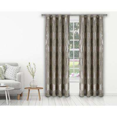 Damask White-Gold Polyester Blackout Pole Top Window Curtain 37 in. W x 84 in. L (2-Pack)