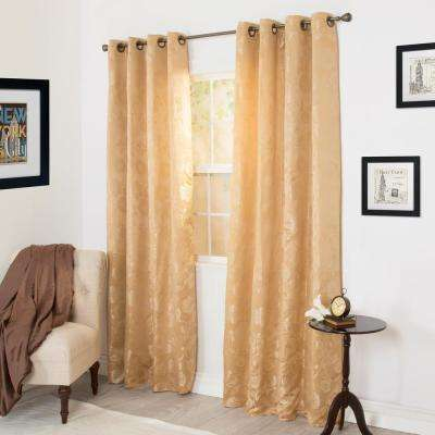 Semi-Opaque Cassia Gold Jacquard Curtain - 56 in. W x 84 in. L (1 Pair)