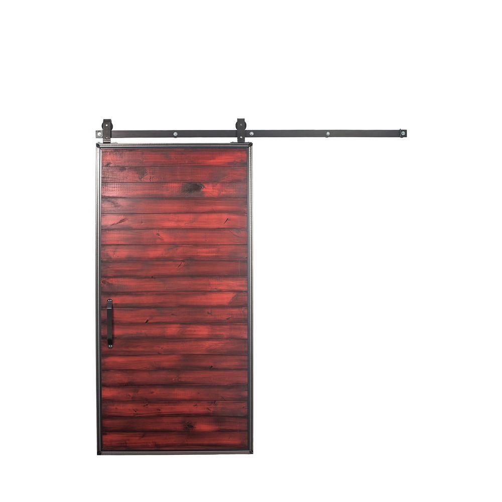 36 in. x 84 in. Mountain Modern Barn Red Wood Barn Door with Mountain Modern Sliding Door Hardware Kit