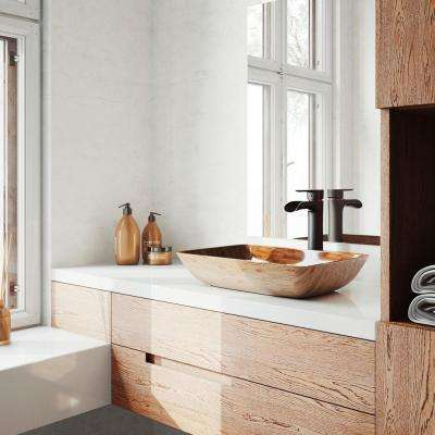 18 Rectangular Amber Sunset Glass Vessel Bathroom Sink Set With Niko Vessel Faucet In Antique Rubbed Bronze