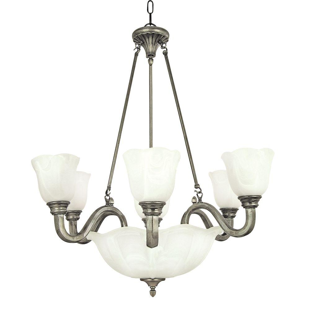 Yosemite Home Decor Mahogany Collection 7-Light Satin Nickel Hanging Chandelier with White Marble Glass Shade