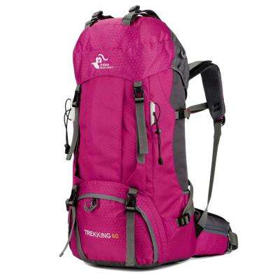 FK0395 60 l 13 in. Pink Waterproof Foldable Backpack Camping Bag with Rain Cover