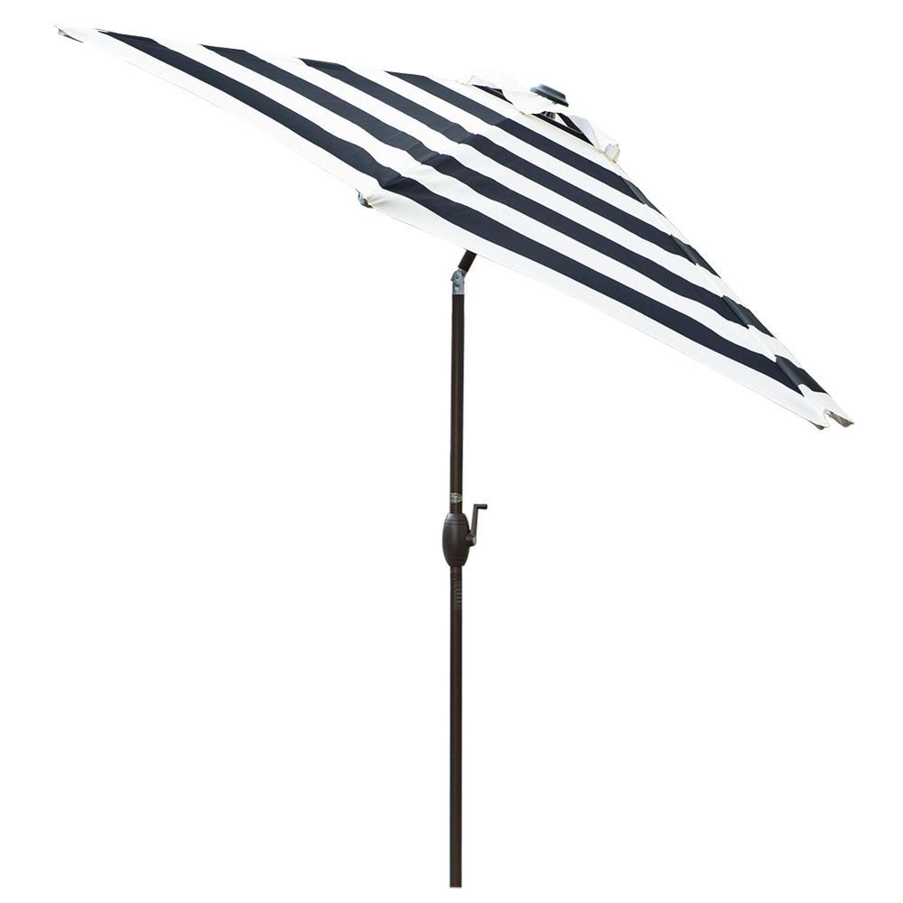 9 ft. Aluminum Market Push Tilt and Crank Patio Umbrella in Black Stripe