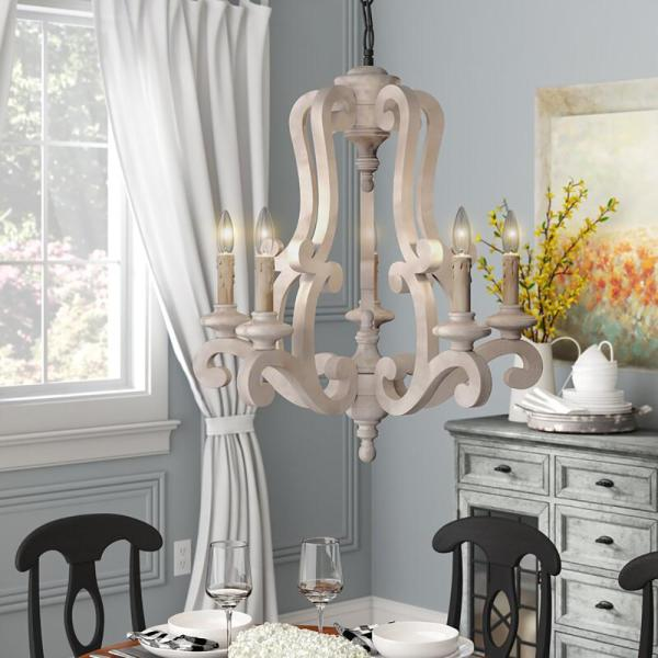 Parrot Uncle Bella 5 Light Wood Accent Candle Style Empire Chandelier Xwfg P978420 The Home Depot