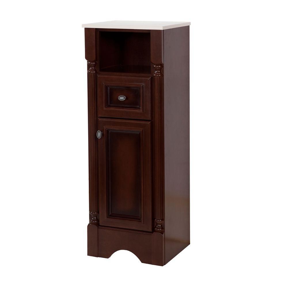 Valencia 16-1/2 in. W x 44-1/2 in. H x 14-15/25 in. D Bathroom Linen Storage Cabinet in Glazed Hazelnut