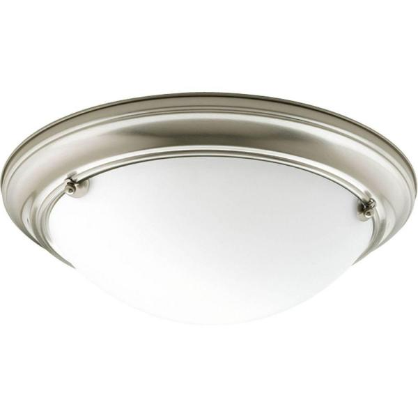Eclipse 2-Light Brushed Nickel Flush Mount with Satin White Glass