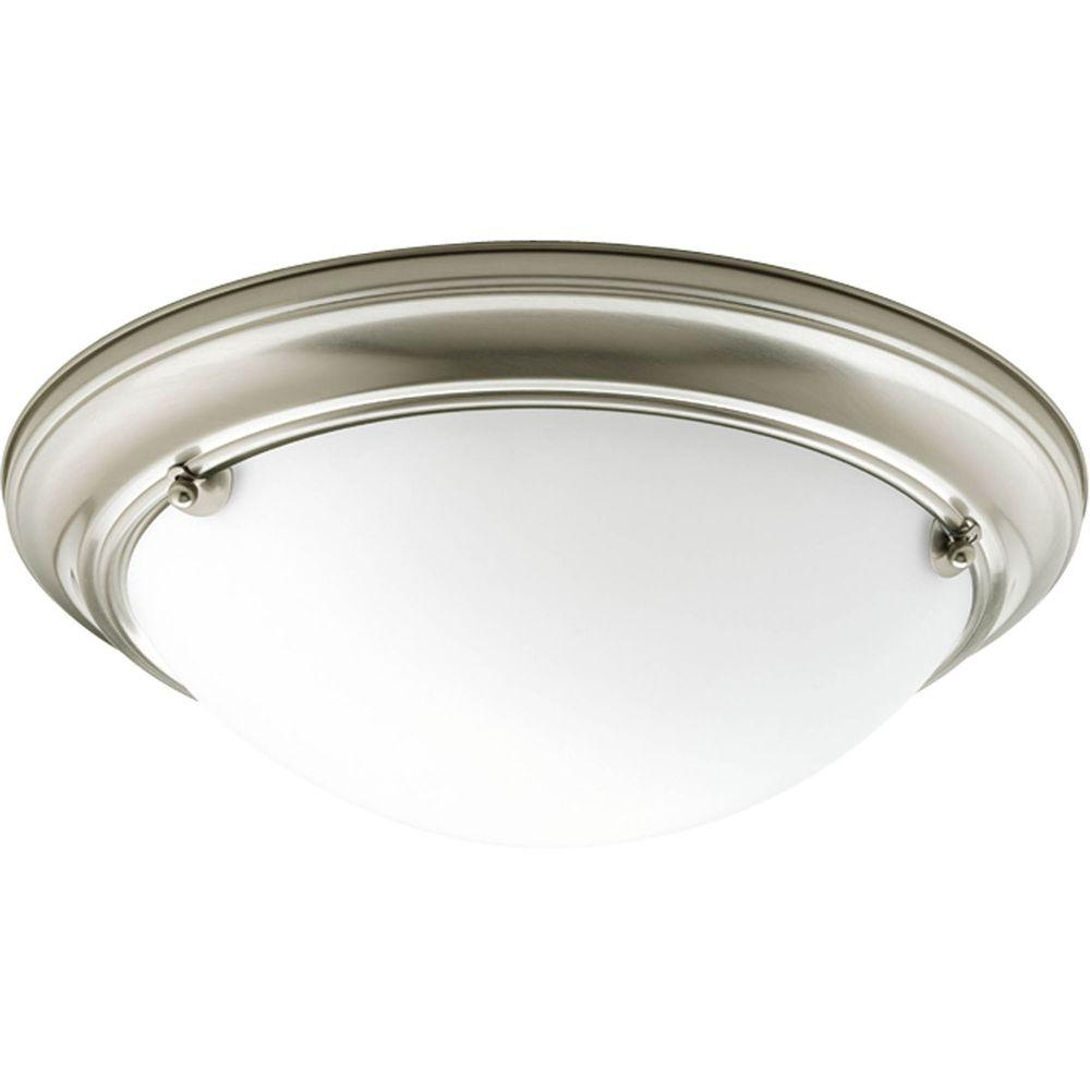 Eclipse Collection 2-Light Brushed Nickel Flushmount with Satin White Glass