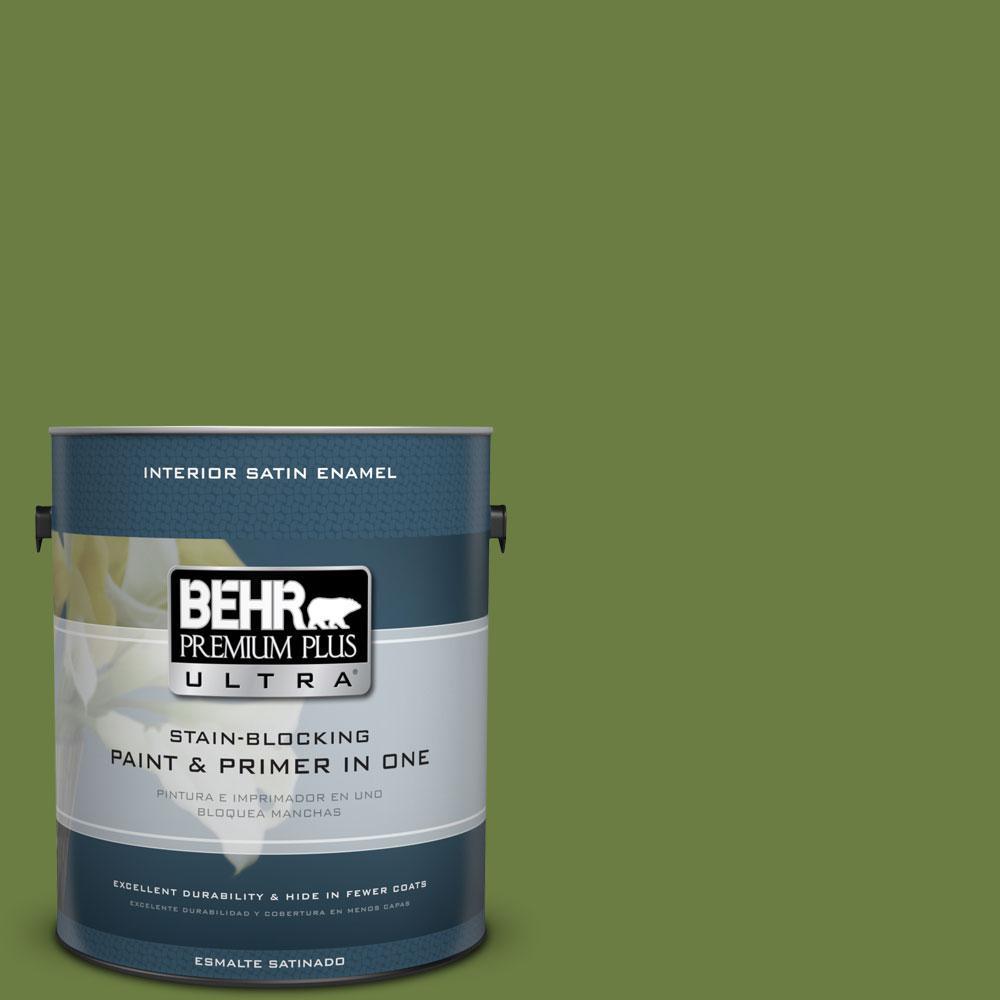 BEHR Premium Plus Ultra 1-gal. #M350-7 Healing Plant Satin Enamel Interior Paint
