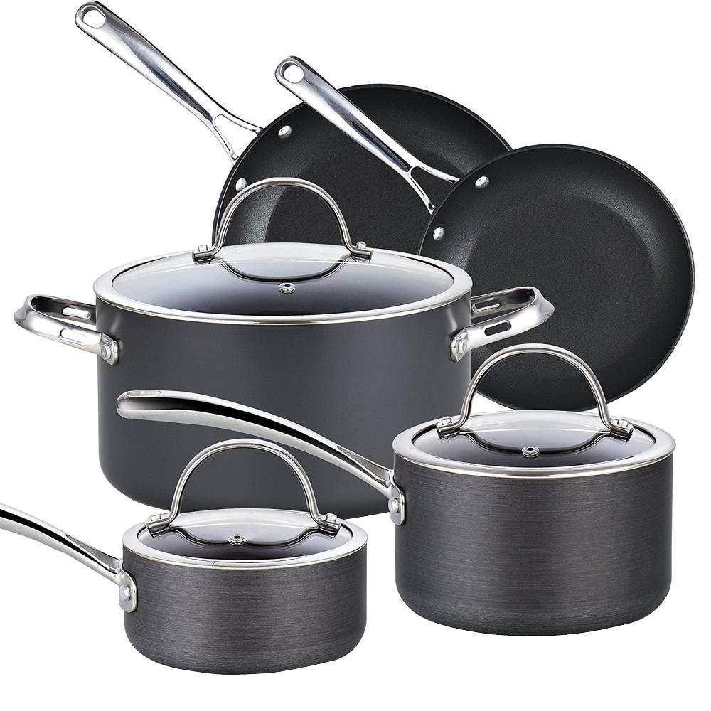 bf43226fccd Cooks Standard 8-Piece Black Cookware Set with Lids-02487 - The Home ...