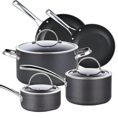 8-Piece Hard-Anodized Aluminum Nonstick Cookware Set in Black